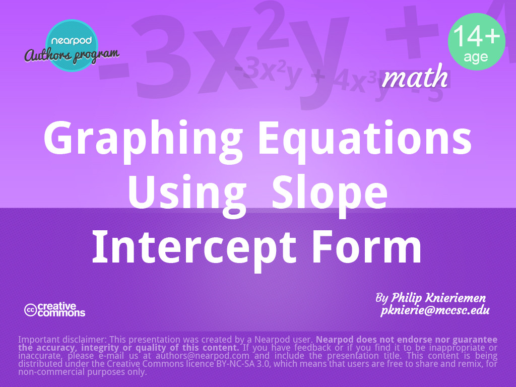 Equations in slope intercept form graphing equations in slope intercept form falaconquin