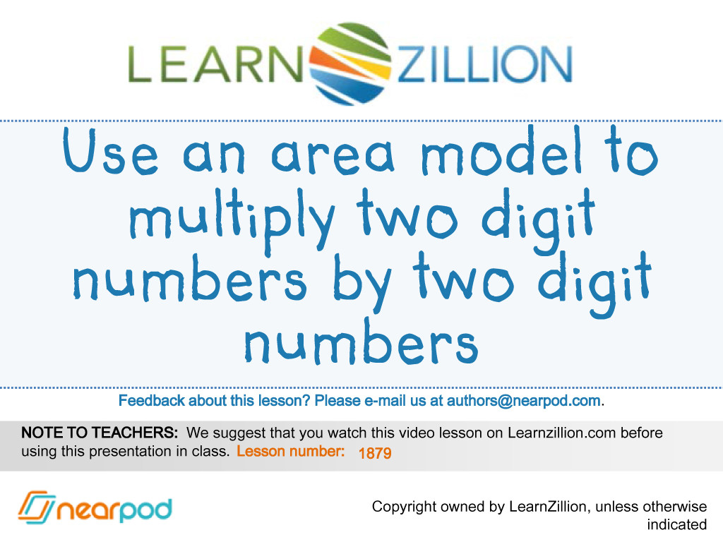 Use An Area Model To Multiply Two Digit Numbers By